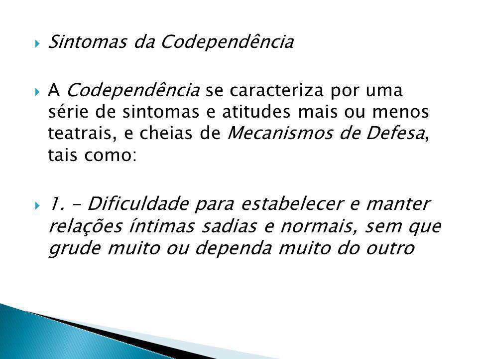  Sintomas da Codependência  A Codependência se caracteriza por uma série de sintomas e atitudes mais ou menos teatrais, e cheias de Mecanismos de Defesa, tais como:  1.