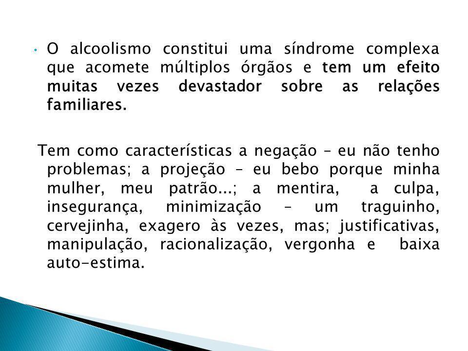 O alcoolismo constitui uma síndrome complexa que acomete múltiplos órgãos e tem um efeito muitas vezes devastador sobre as relações familiares.