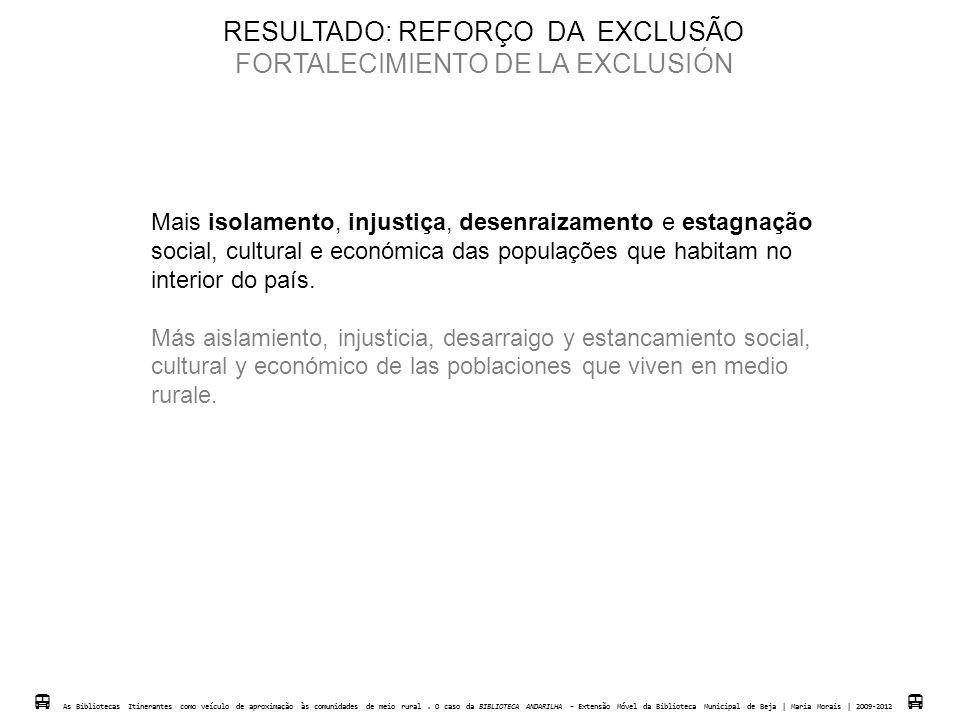 RESULTADO: REFORÇO DA EXCLUSÃO FORTALECIMIENTO DE LA EXCLUSIÓN Mais isolamento, injustiça, desenraizamento e estagnação social, cultural e económica d
