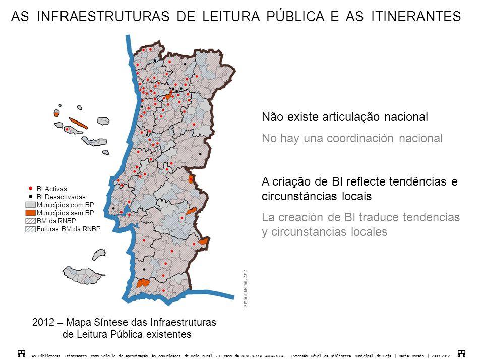 AS INFRAESTRUTURAS DE LEITURA PÚBLICA E AS ITINERANTES 2012 – Mapa Síntese das Infraestruturas de Leitura Pública existentes BI Activas BI Desactivada
