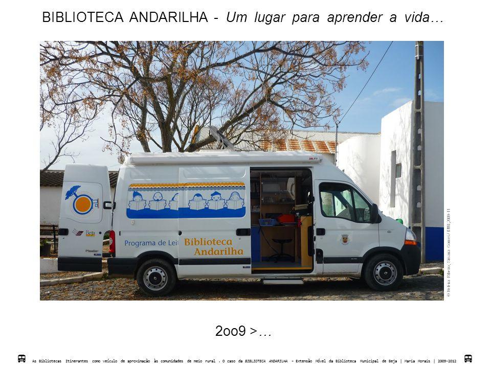 BIBLIOTECA ANDARILHA - Um lugar para aprender a vida…  Helena Ribeiro; Susana Gomes/ BMB,2009-11  As Bibliotecas Itinerantes como veículo de aproxim