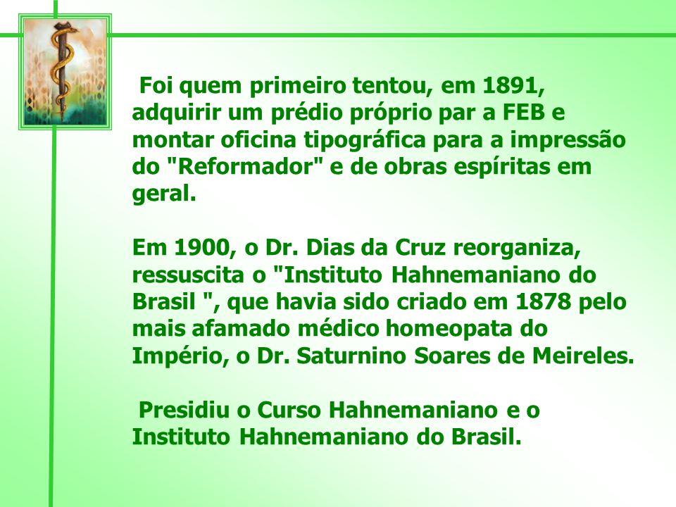 Sob a sua presidência foram iniciados os trabalhos de socorro material e espiritual da Assistência aos Necessitados, que até hoje constituem o cerne dos serviços cristãos prestados pela Federação Espírita Brasileira.