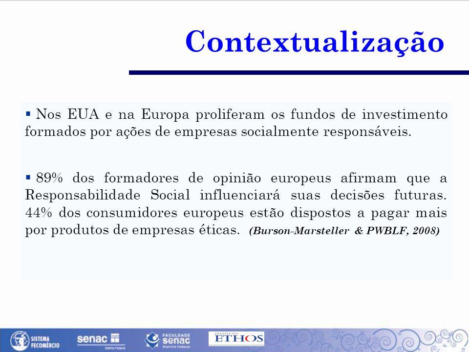  Nos EUA e na Europa proliferam os fundos de investimento formados por ações de empresas socialmente responsáveis.  89% dos formadores de opinião eu