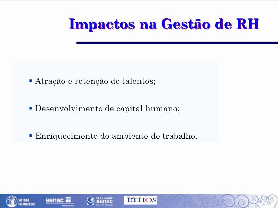 Impactos na Gestão de RH  Atração e retenção de talentos;  Desenvolvimento de capital humano;  Enriquecimento do ambiente de trabalho.