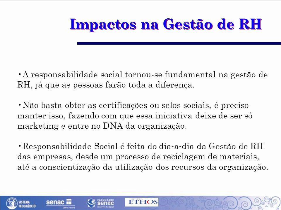 A responsabilidade social tornou-se fundamental na gestão de RH, já que as pessoas farão toda a diferença. Não basta obter as certificações ou selos s