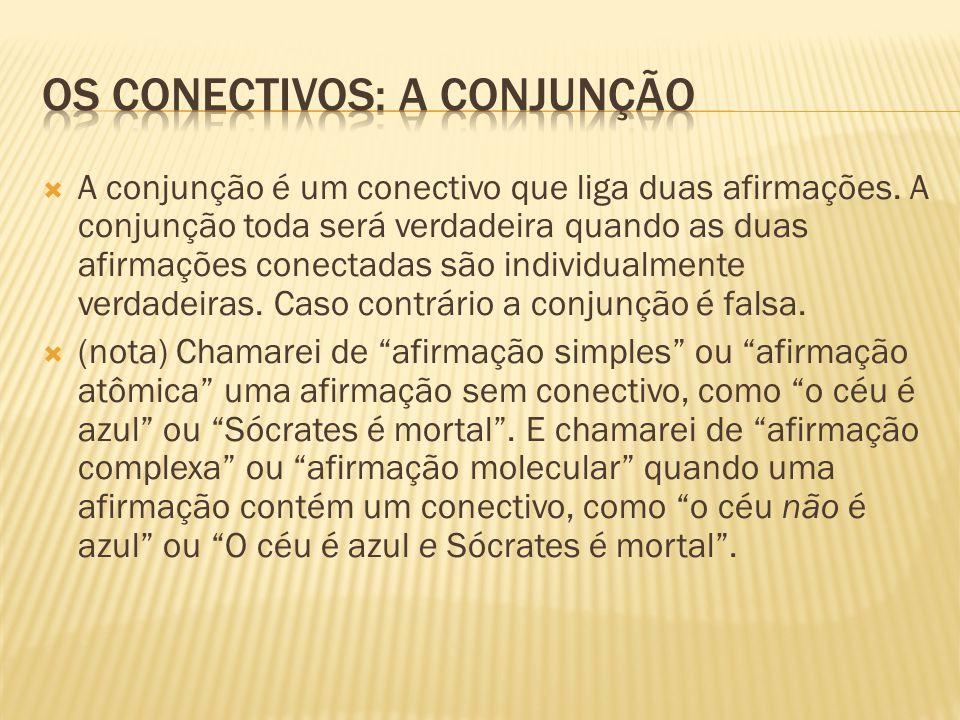  A conjunção é um conectivo que liga duas afirmações. A conjunção toda será verdadeira quando as duas afirmações conectadas são individualmente verda