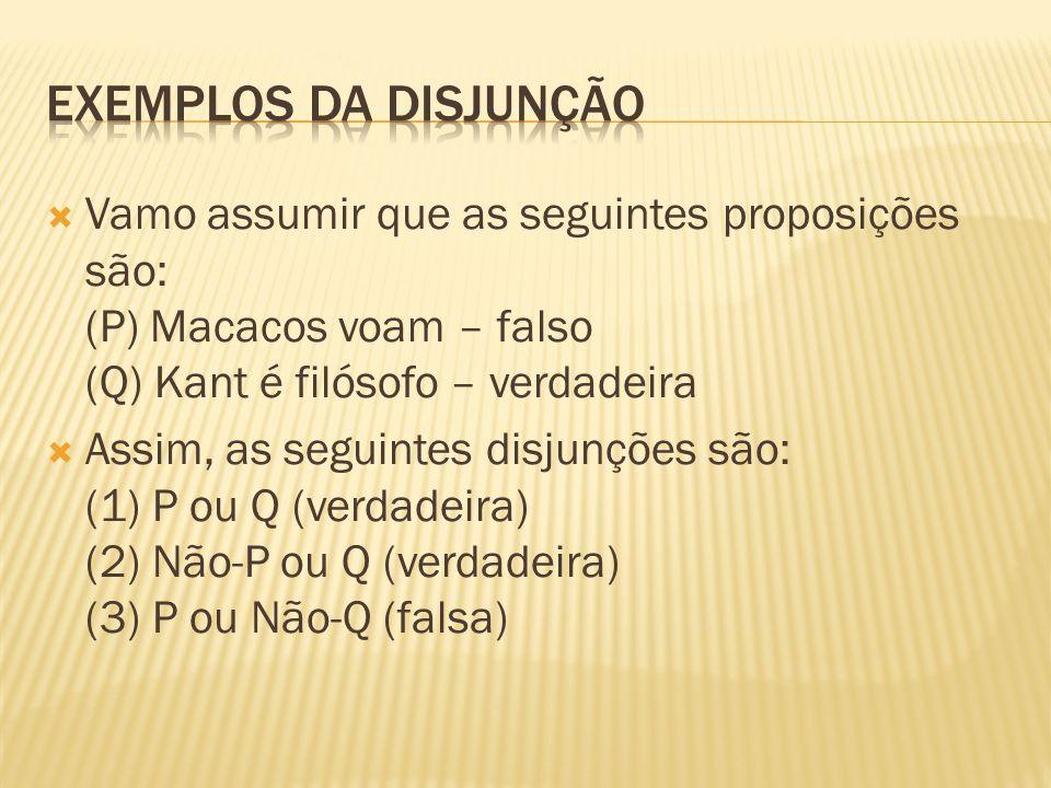  Vamo assumir que as seguintes proposições são: (P) Macacos voam – falso (Q) Kant é filósofo – verdadeira  Assim, as seguintes disjunções são: (1) P