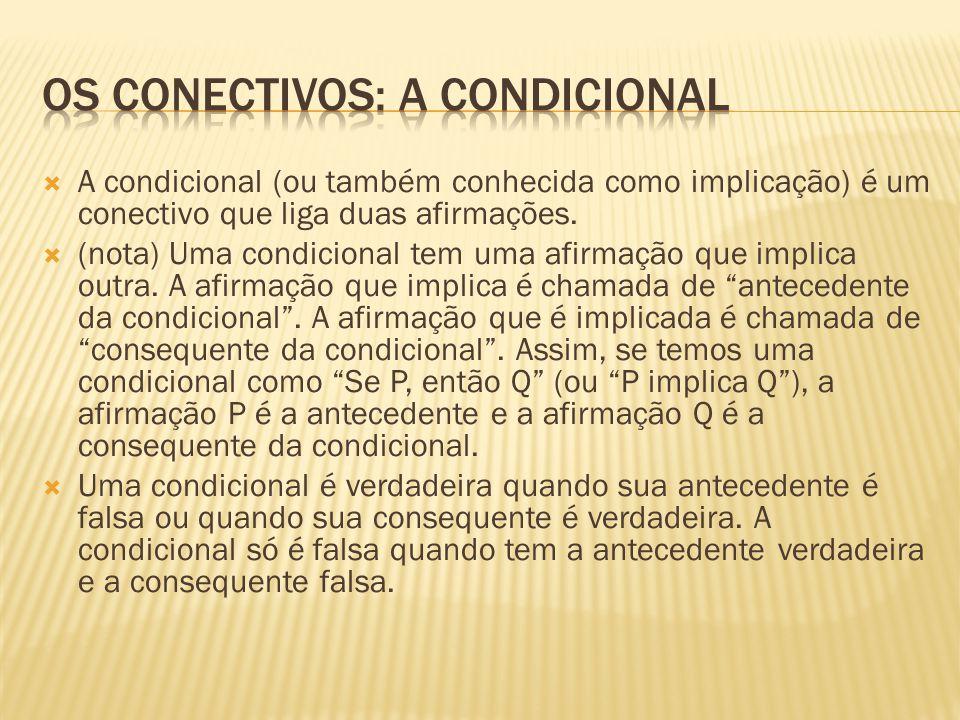  A condicional (ou também conhecida como implicação) é um conectivo que liga duas afirmações.  (nota) Uma condicional tem uma afirmação que implica
