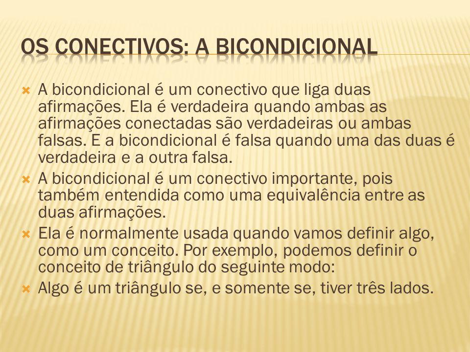  A bicondicional é um conectivo que liga duas afirmações. Ela é verdadeira quando ambas as afirmações conectadas são verdadeiras ou ambas falsas. E a