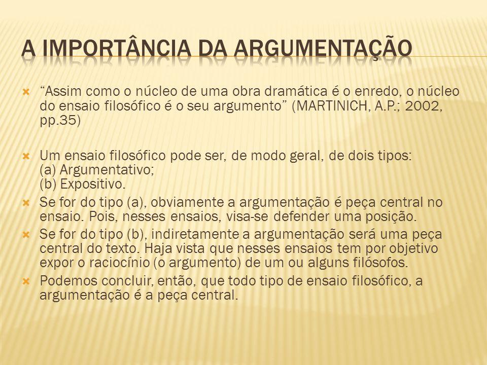 """ """"Assim como o núcleo de uma obra dramática é o enredo, o núcleo do ensaio filosófico é o seu argumento"""" (MARTINICH, A.P.; 2002, pp.35)  Um ensaio f"""
