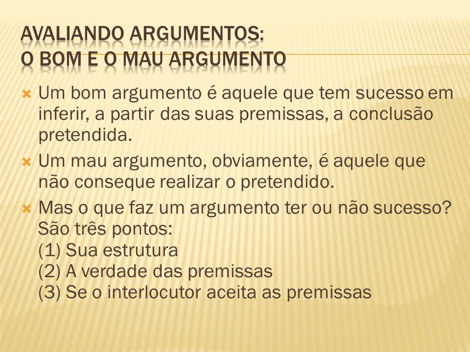  Um bom argumento é aquele que tem sucesso em inferir, a partir das suas premissas, a conclusão pretendida.  Um mau argumento, obviamente, é aquele