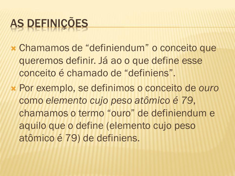 """ Chamamos de """"definiendum"""" o conceito que queremos definir. Já ao o que define esse conceito é chamado de """"definiens"""".  Por exemplo, se definimos o"""