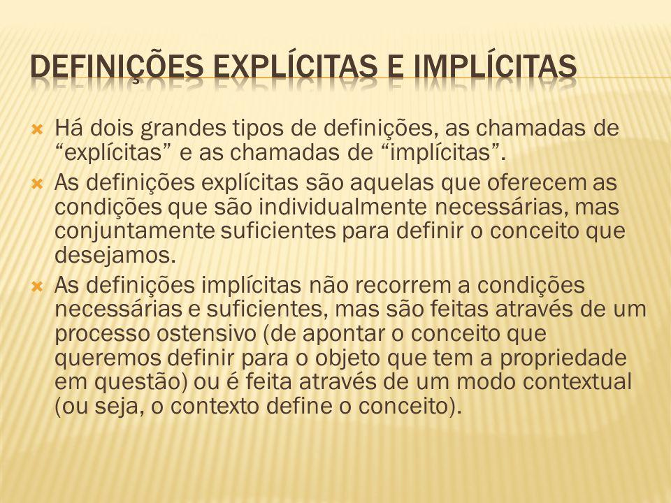 """ Há dois grandes tipos de definições, as chamadas de """"explícitas"""" e as chamadas de """"implícitas"""".  As definições explícitas são aquelas que oferecem"""