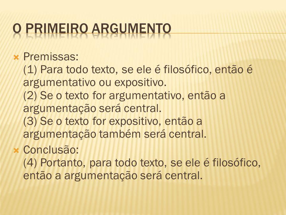  Premissas: (1) Para todo texto, se ele é filosófico, então é argumentativo ou expositivo. (2) Se o texto for argumentativo, então a argumentação ser