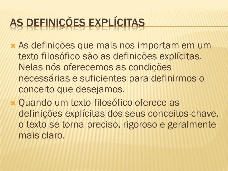 As definições que mais nos importam em um texto filosófico são as definições explícitas. Nelas nós oferecemos as condições necessárias e suficientes