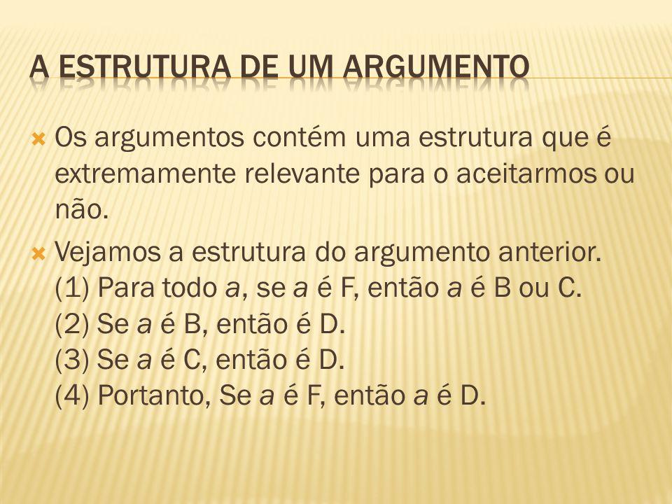  Os argumentos contém uma estrutura que é extremamente relevante para o aceitarmos ou não.  Vejamos a estrutura do argumento anterior. (1) Para todo