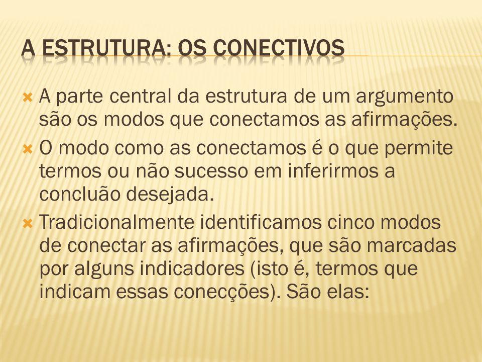  A parte central da estrutura de um argumento são os modos que conectamos as afirmações.  O modo como as conectamos é o que permite termos ou não su