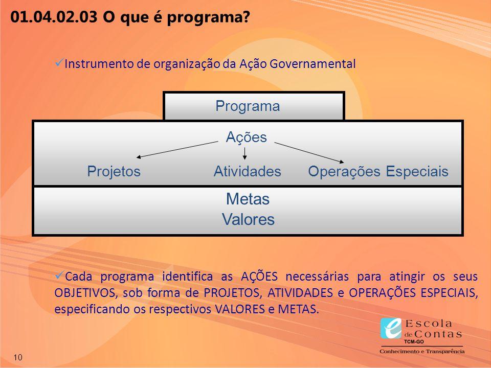10 Instrumento de organização da Ação Governamental Cada programa identifica as AÇÕES necessárias para atingir os seus OBJETIVOS, sob forma de PROJETO