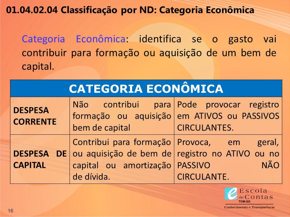 16 Categoria Econômica: identifica se o gasto vai contribuir para formação ou aquisição de um bem de capital. CATEGORIA ECONÔMICA DESPESA CORRENTE Não
