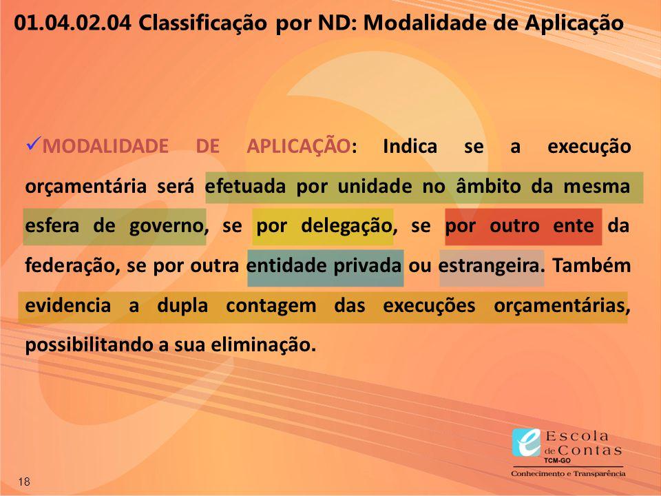 18 01.04.02.04 Classificação por ND: Modalidade de Aplicação MODALIDADE DE APLICAÇÃO: Indica se a execução orçamentária será efetuada por unidade no â
