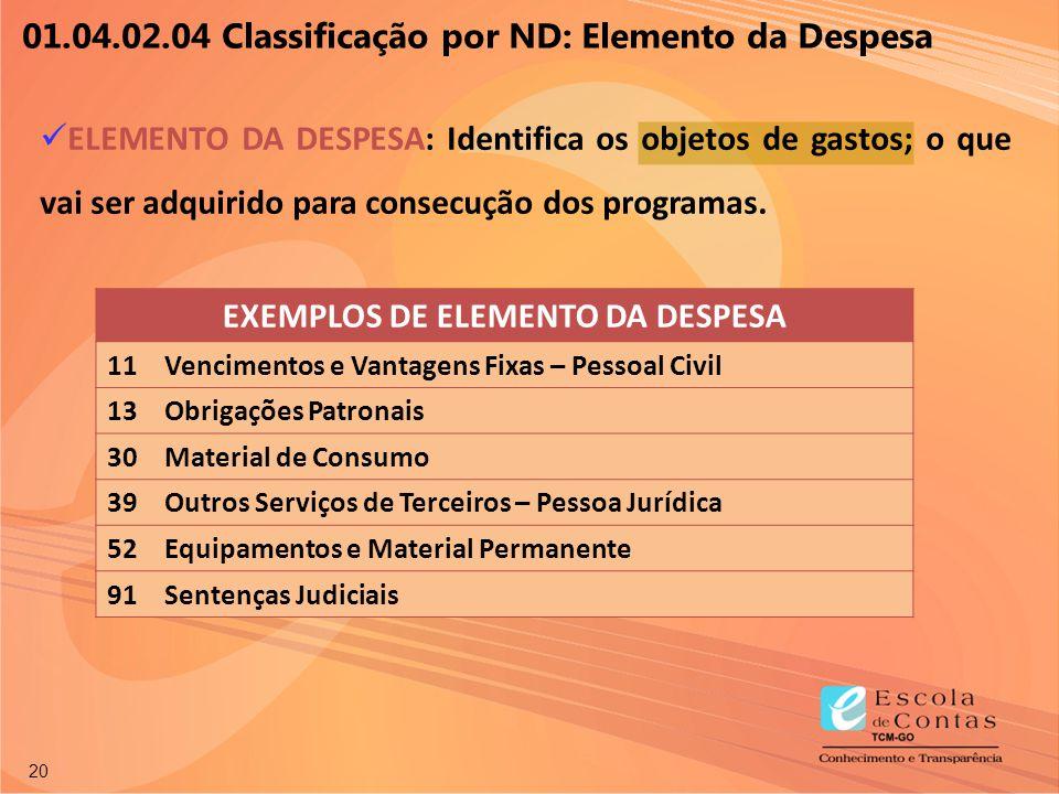 20 01.04.02.04 Classificação por ND: Elemento da Despesa ELEMENTO DA DESPESA: Identifica os objetos de gastos; o que vai ser adquirido para consecução