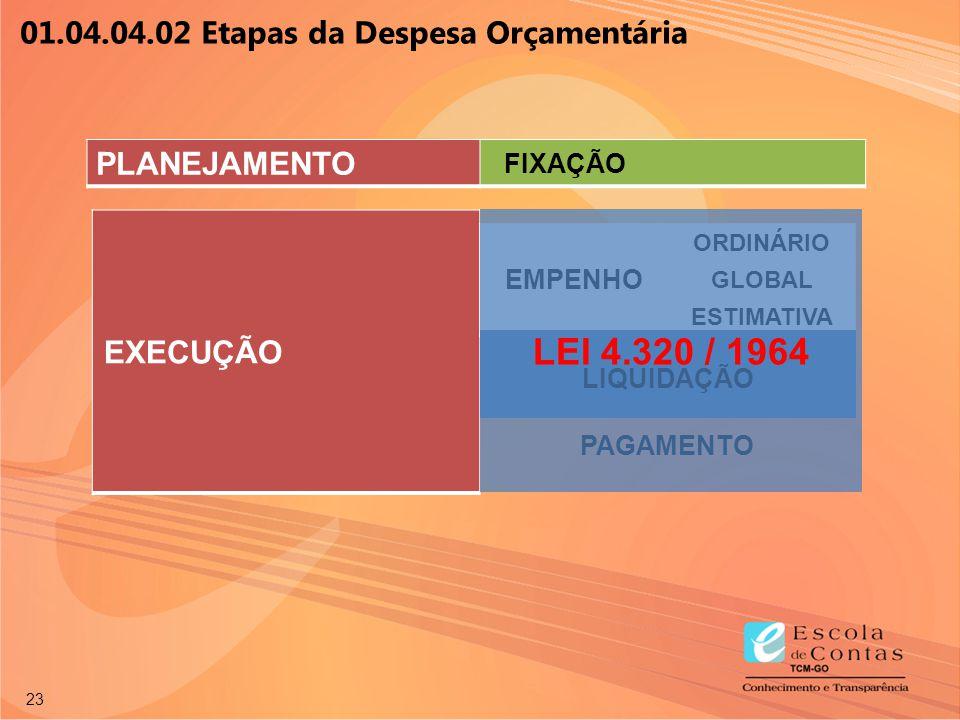 23 EXECUÇÃO EMPENHO ORDINÁRIO GLOBAL ESTIMATIVA LIQUIDAÇÃO PAGAMENTO 01.04.04.02 Etapas da Despesa Orçamentária PLANEJAMENTO FIXAÇÃO LEI 4.320 / 1964