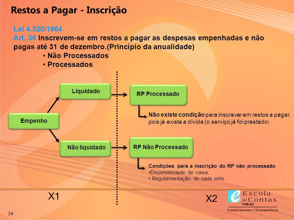 34 X1 X2 Empenho Não liquidado RP Processado Liquidado Condições para a inscrição do RP não processado Disponibilidade de caixa; Regulamentação de cad