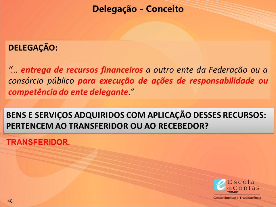"""48 DELEGAÇÃO: """"... entrega de recursos financeiros a outro ente da Federação ou a consórcio público para execução de ações de responsabilidade ou comp"""