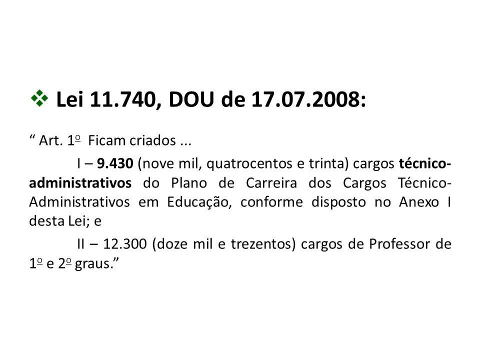 """ Lei 11.740, DOU de 17.07.2008: """" Art. 1 o Ficam criados... I – 9.430 (nove mil, quatrocentos e trinta) cargos técnico- administrativos do Plano de C"""