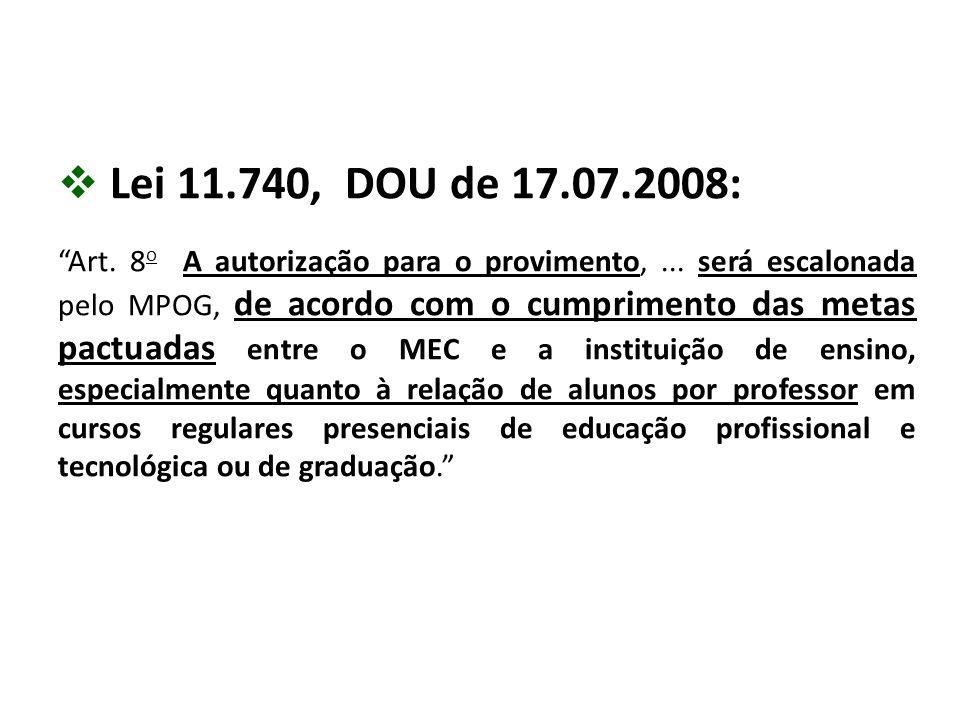 """ Lei 11.740, DOU de 17.07.2008: """"Art. 8 o A autorização para o provimento,... será escalonada pelo MPOG, de acordo com o cumprimento das metas pactua"""