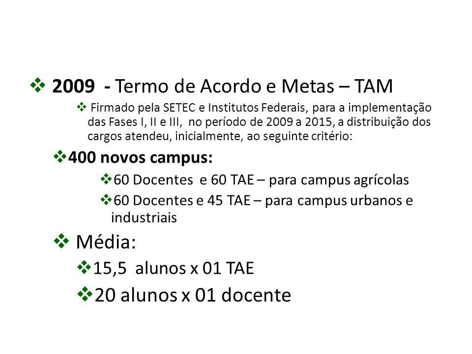  2009 - Termo de Acordo e Metas – TAM  Firmado pela SETEC e Institutos Federais, para a implementação das Fases I, II e III, no período de 2009 a 20