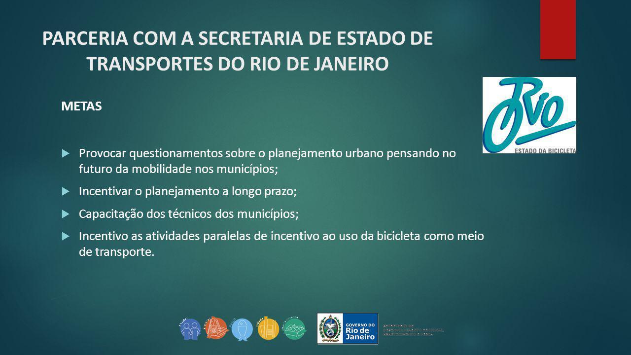 PARCERIA COM A SECRETARIA DE ESTADO DE TRANSPORTES DO RIO DE JANEIRO METAS  Provocar questionamentos sobre o planejamento urbano pensando no futuro d