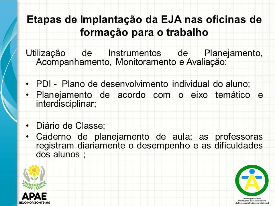 Etapas de Implantação da EJA nas oficinas de formação para o trabalho Utilização de Instrumentos de Planejamento, Acompanhamento, Monitoramento e Aval