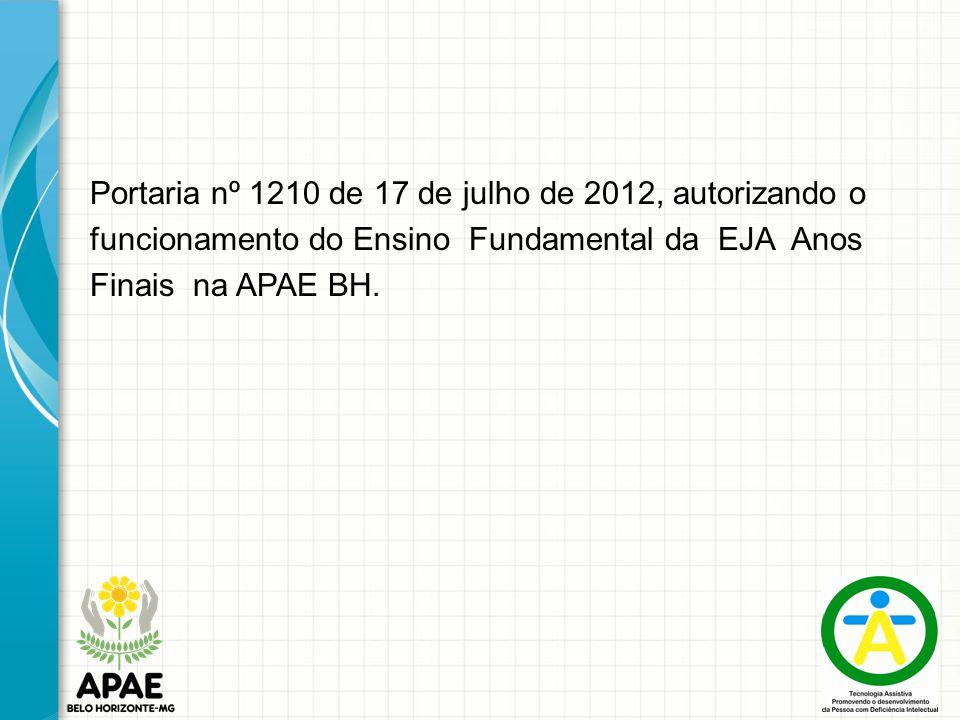 Portaria nº 1210 de 17 de julho de 2012, autorizando o funcionamento do Ensino Fundamental da EJA Anos Finais na APAE BH.