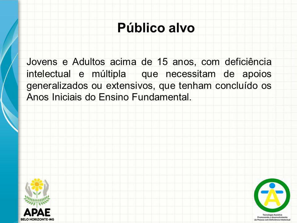 Público alvo Jovens e Adultos acima de 15 anos, com deficiência intelectual e múltipla que necessitam de apoios generalizados ou extensivos, que tenha