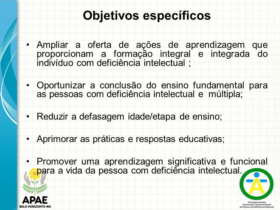 Objetivos específicos Ampliar a oferta de ações de aprendizagem que proporcionam a formação integral e integrada do indivíduo com deficiência intelect