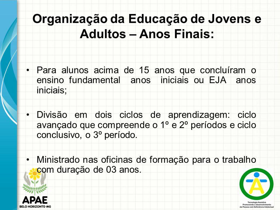 Organização da Educação de Jovens e Adultos – Anos Finais: Para alunos acima de 15 anos que concluíram o ensino fundamental anos iniciais ou EJA anos