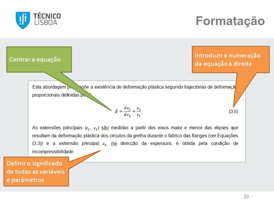 Formatação Centrar a equação Definir o significado de todas as variáveis e parâmetros Introduzir a numeração da equação à direita 20