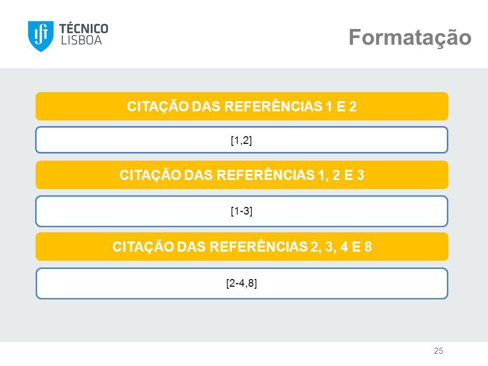 Formatação [1,2] CITAÇÃO DAS REFERÊNCIAS 1 E 2 CITAÇÃO DAS REFERÊNCIAS 1, 2 E 3 CITAÇÃO DAS REFERÊNCIAS 2, 3, 4 E 8 [1-3] 25 [2-4,8]