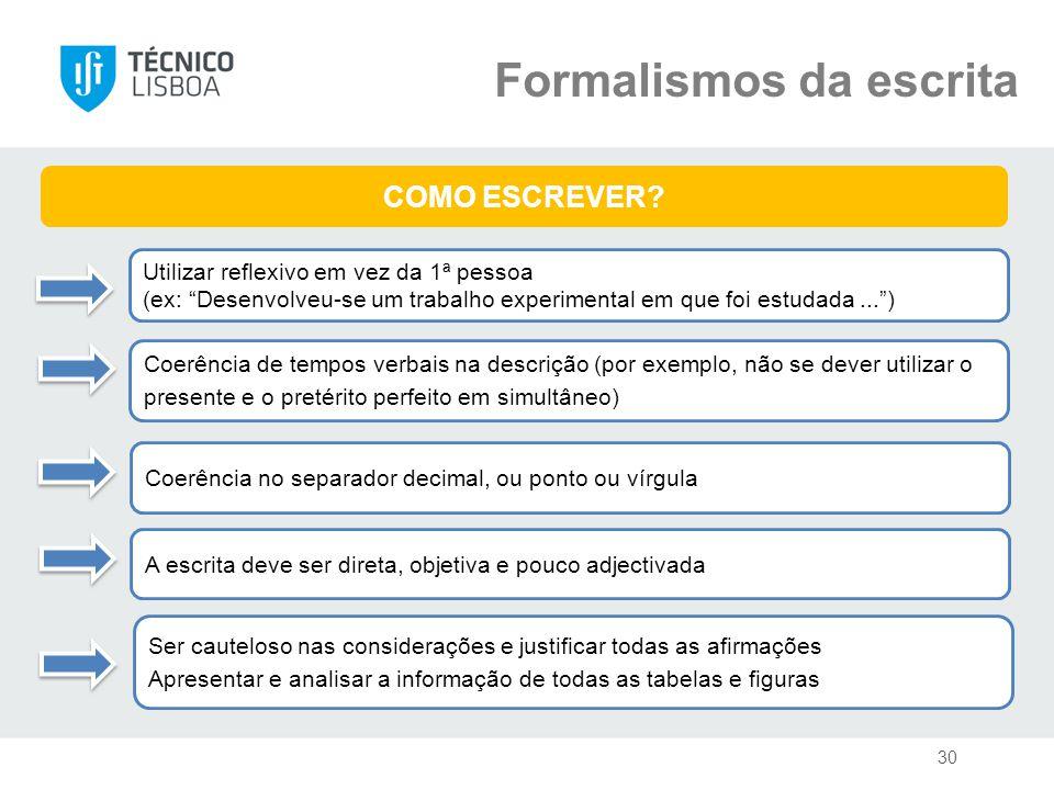 Formalismos da escrita Coerência de tempos verbais na descrição (por exemplo, não se dever utilizar o presente e o pretérito perfeito em simultâneo) COMO ESCREVER.