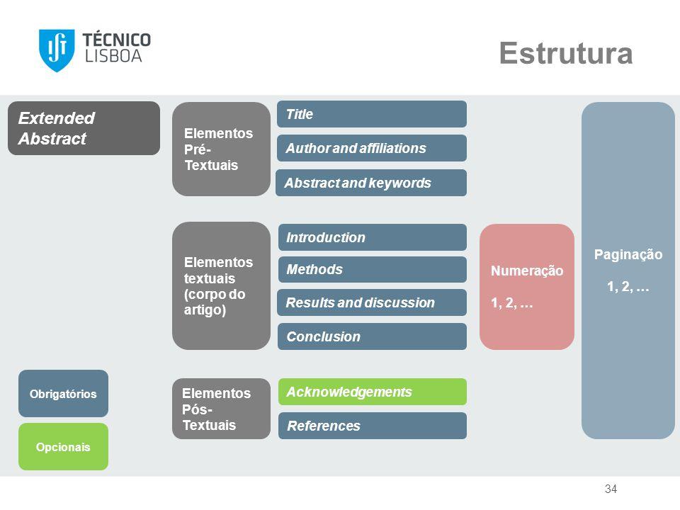 34 Introduction Methods Results and discussion Conclusion References Extended Abstract Title Elementos Pré- Textuais Elementos textuais (corpo do arti
