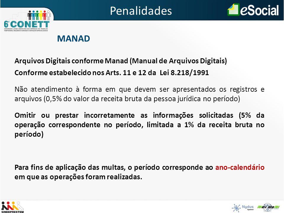Penalidades MANAD Arquivos Digitais conforme Manad (Manual de Arquivos Digitais) Conforme estabelecido nos Arts. 11 e 12 da Lei 8.218/1991 Não atendim