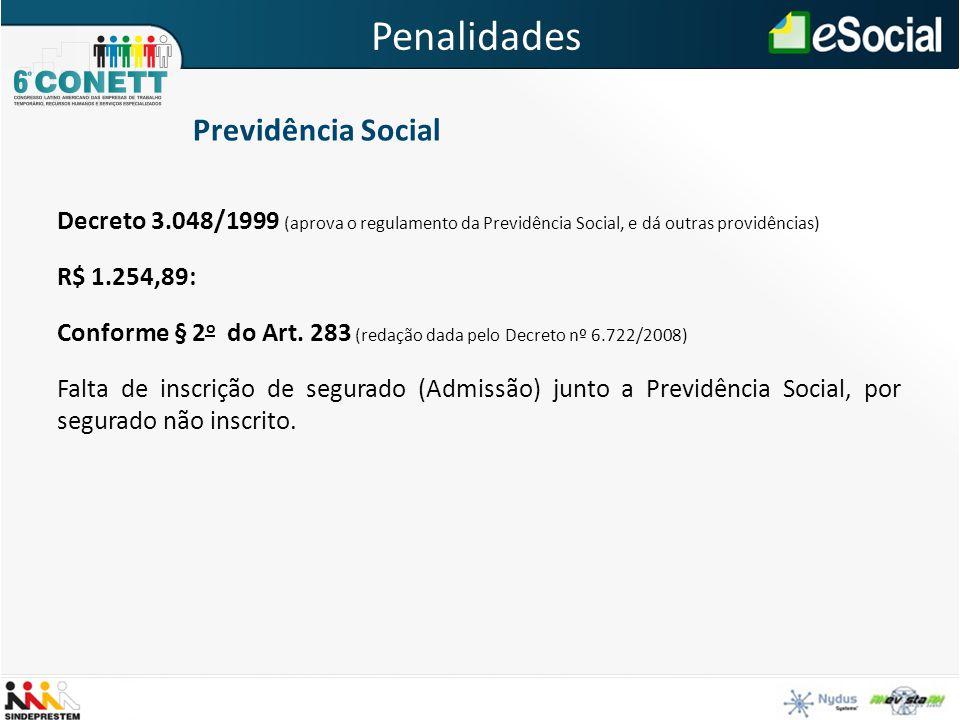 Decreto 3.048/1999 (aprova o regulamento da Previdência Social, e dá outras providências) R$ 1.254,89: Conforme § 2 o do Art. 283 (redação dada pelo D