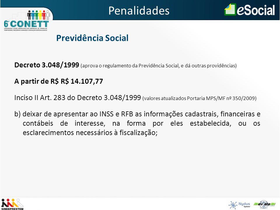 Decreto 3.048/1999 (aprova o regulamento da Previdência Social, e dá outras providências) A partir de R$ R$ 14.107,77 Inciso II Art. 283 do Decreto 3.