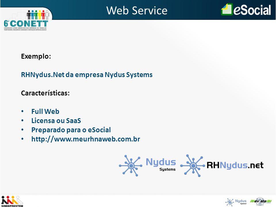 Web Service Exemplo: RHNydus.Net da empresa Nydus Systems Características: Full Web Licensa ou SaaS Preparado para o eSocial http://www.meurhnaweb.com