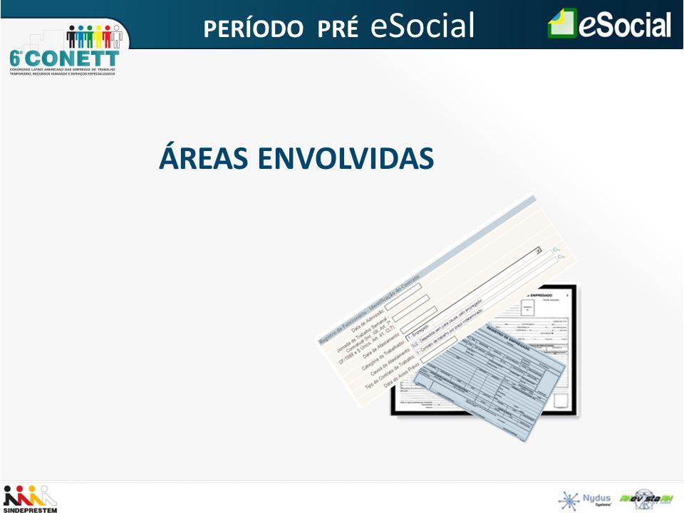 ÁREAS ENVOLVIDAS PERÍODO PRÉ eSocial