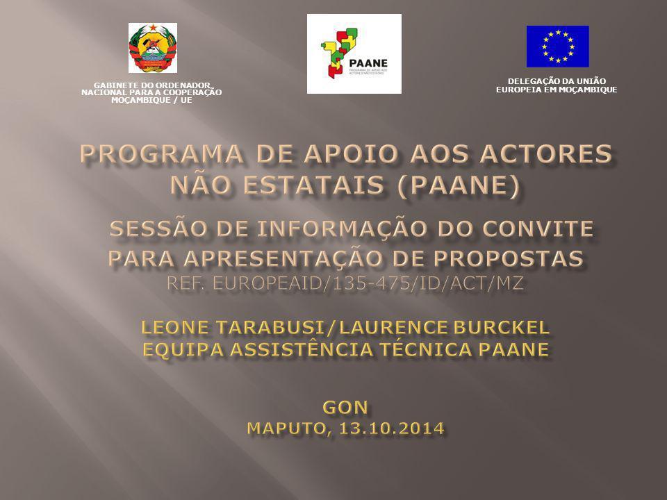 Concurso de Âmbito nacional com Sub-lotes para garantir distribuição dos projectos Montante global disponível indicativo: 2.650.000 EUR Lote 1 - Cidadania: 1.100.000 EUR (ca 44 milhões MTN) Sub-lote 1a- Região Norte: 366.667 EUR Sub-lote 1b- Região Centro: 366.667 EUR Sub-lote 1c- Região Sul: 366.666 EUR Lote 2 – Diálogo: 1.550.000,00 EUR (ca 62 milhões MTN) Sub-lote 2a- Região Norte: 516.667 EUR Sub-lote 2b- Região Centro: 516.667 EUR Sub-lote 2c- Região Sul: 516.666 EUR Região Norte: Cabo Delgado, Nampula, e Niassa.
