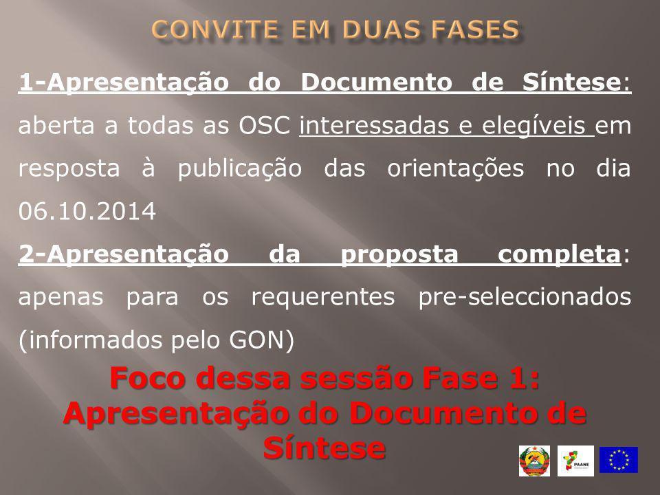 1-Apresentação do Documento de Síntese: aberta a todas as OSC interessadas e elegíveis em resposta à publicação das orientações no dia 06.10.2014 2-Ap
