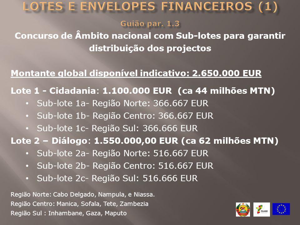 Concurso de Âmbito nacional com Sub-lotes para garantir distribuição dos projectos Montante global disponível indicativo: 2.650.000 EUR Lote 1 - Cidad