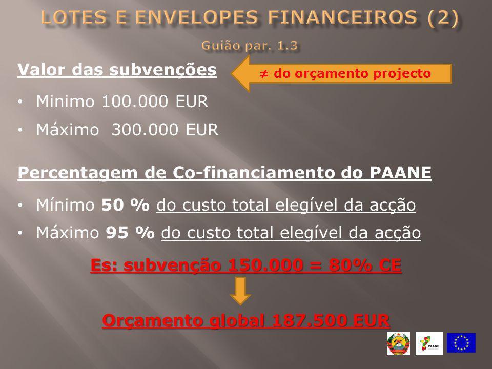 Valor das subvenções Minimo 100.000 EUR Máximo 300.000 EUR Percentagem de Co-financiamento do PAANE Mínimo 50 % do custo total elegível da acção Máxim